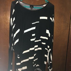 Black/white rayon blouse. Like new,  worn once.